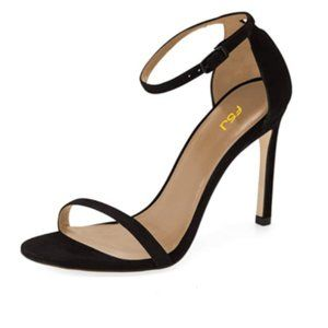 FSJ Black Ankle Strap High Heels Sandals
